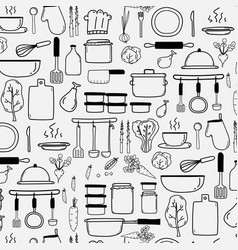 Pattern with hand drawn doodle cooking equipment vector