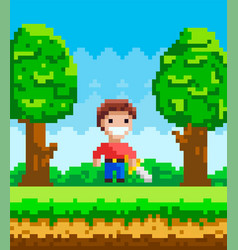 Pixel-game character pixelated man vector