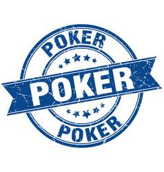 Poker round grunge ribbon stamp vector