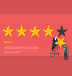 Rating poster two man on ladder hanging fifth star vector