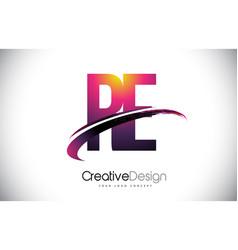 Re r e purple letter logo with swoosh design vector