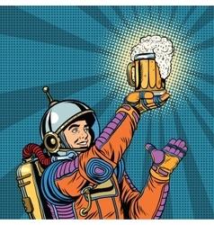 Retro astronaut and a mug beer vector