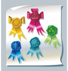 Sealing wax stamp with ribbons vector