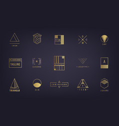 set abstract geometric logos forms vector image
