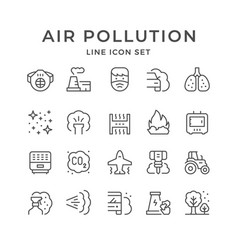 Set line icons air pollution vector
