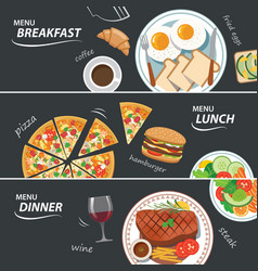 Set of breakfast lunch and dinner web banner vector