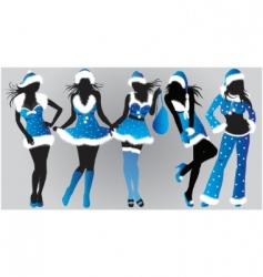 set of Christmas girls vector image