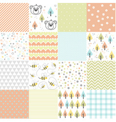 set of design elements of baby seamless patterns vector image