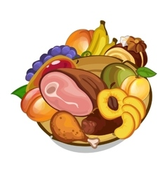 set of meat and fruits on plate vector image