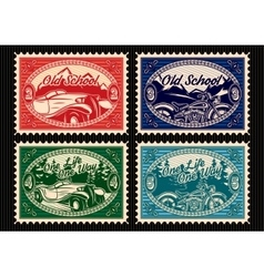 set of stamps with the car and motorbike vector image