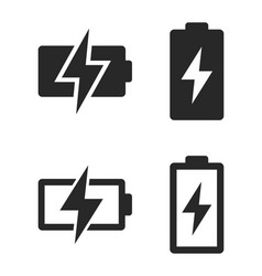 Simple battery charging icon set vector