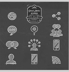 Social media hand drawn doodle internet icon set vector