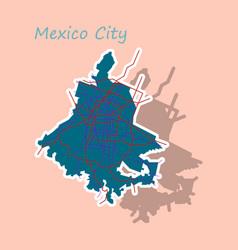 Sticker color map of mexico city mexico city plan vector