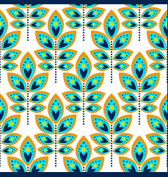 Stylized leaf cyan blue seamless pattern vector