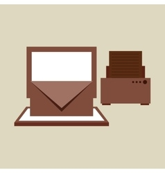 Technology office information computer printer vector
