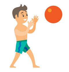 Teenager catching ball summer vacation vector