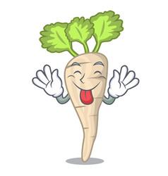 Tongue out fresh organic parsnip vegetable cartoon vector