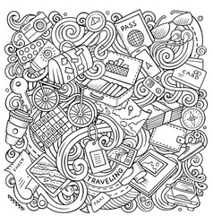 Travel hand drawn doodles vector