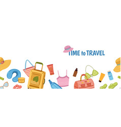 travel stuff banner tourism tourist luggage vector image