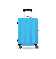 Travel suitcase in blue color with wheels vector