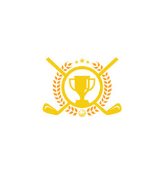 trophy golf logo icon design vector image
