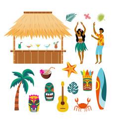 tropical hawaii summer vacation drawing set - tiki vector image