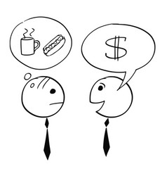 Two businessman talking about business and coffee vector
