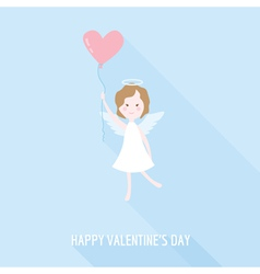 Valentines Day Card - Cupid Angel with Heart vector