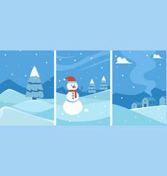 Winter background set vector