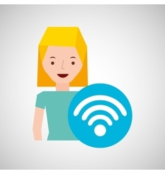 Woman cartoon wifi wireless internet design vector
