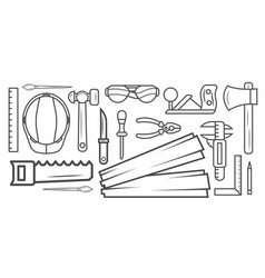 Woodworking instrument black and white sketch vector