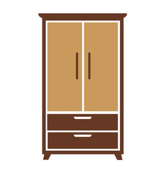 brown wooden cartoon simple wardrobe isolated flat vector image vector image