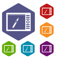 graphics tablet icons set hexagon vector image