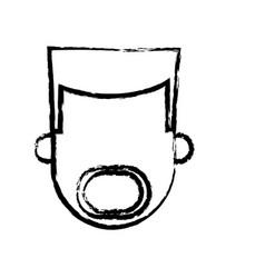 Head man male mustache and beard person sketch vector