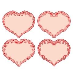 Set of ornate heart frames vector image vector image