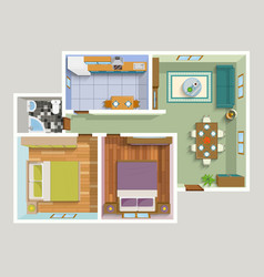 Top View Apartment Interior Detailed Plan vector image