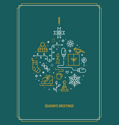 christmas template for greeting card vector image vector image