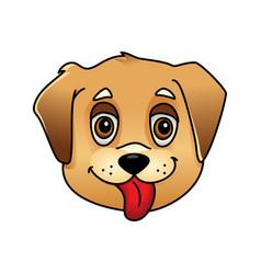cute cartoon dog face vector image
