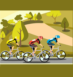 group of cyclists man in road sport vector image