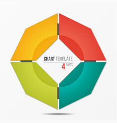 polygonal circle chart infographic template with 4 vector image vector image