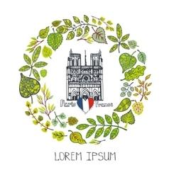 Spring in ParisGreen Leaves wreathNotre Dame vector image vector image