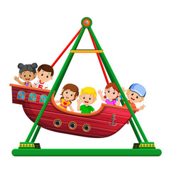 children playing on viking ride at carnival vector image vector image