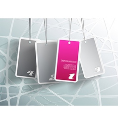 Four hanging purple cards You can place your own vector image