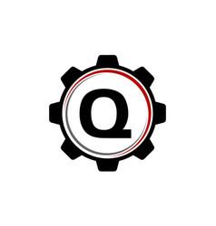 gear solution logo letter q vector image