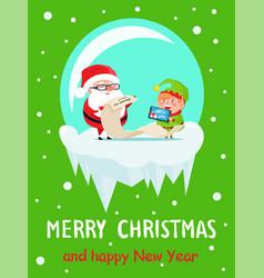 Happy new year merry xmas postcard santa and elf vector