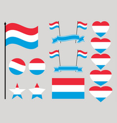 luxembourg flag set collection of symbols heart vector image