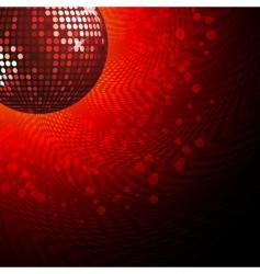Red disco ball and haltone vector