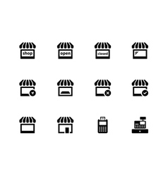 Shop icons on white background vector image vector image