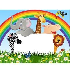 animal cartoon and blank sign vector image