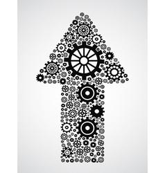 arrow with gears vector image